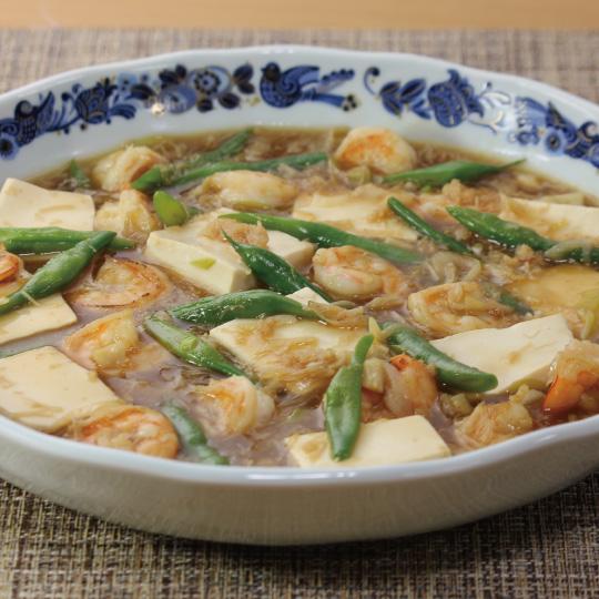 豆腐とエビのとろみ炒め